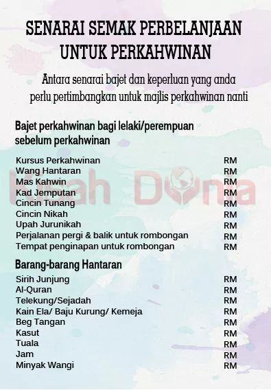 On Twitter Senarai Semak Perbelanjaan Untuk Perkahwinan Semoga Bermanfaat Untuk Bakal Pengantin Semua Kahwin Malaysia