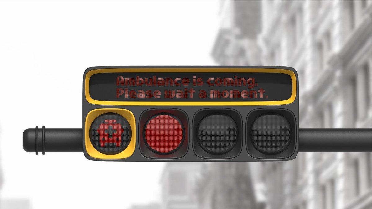 Ce concept de feu tricolore a été pensé pour favoriser la circulation des secours 🚑  Crédits : Taekkyung Lee (https://t.co/q00xp7lsrc)
