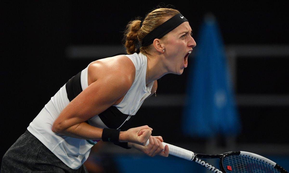 Petra powers through!  Eighth seed @Petra_Kvitova beats Bencic in straight sets, 6-1, 6-4!  #AusOpen https://t.co/V2eimN9o9e