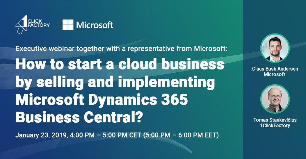 Hurry to save your seat at our executive webinar 'How to start a cloud business with Microsoft Dynamics 365 Business Central?' on Jan 23! Find out about the ways of starting a cloud business to become a leading ERP SaaS provider. Register https://bit.ly/2slgabU  #MSPartner #Cloud
