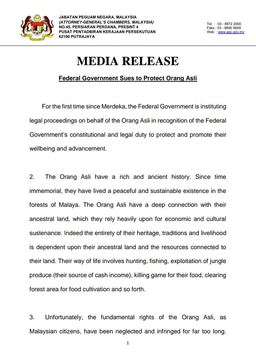 Media release 18th January 2019: Federal Government Sues to Protect Orang Asli