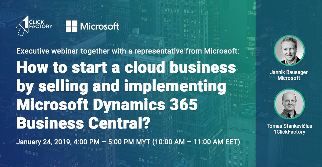 Save your seat at our executive webinar 'How to start a cloud business with Microsoft Dynamics 365 Business Central?' on Jan 24 with @Microsoft to find out about the ways of starting a cloud business to become a leading ERP SaaS provider. Register https://bit.ly/2D1VPP2  #cloud