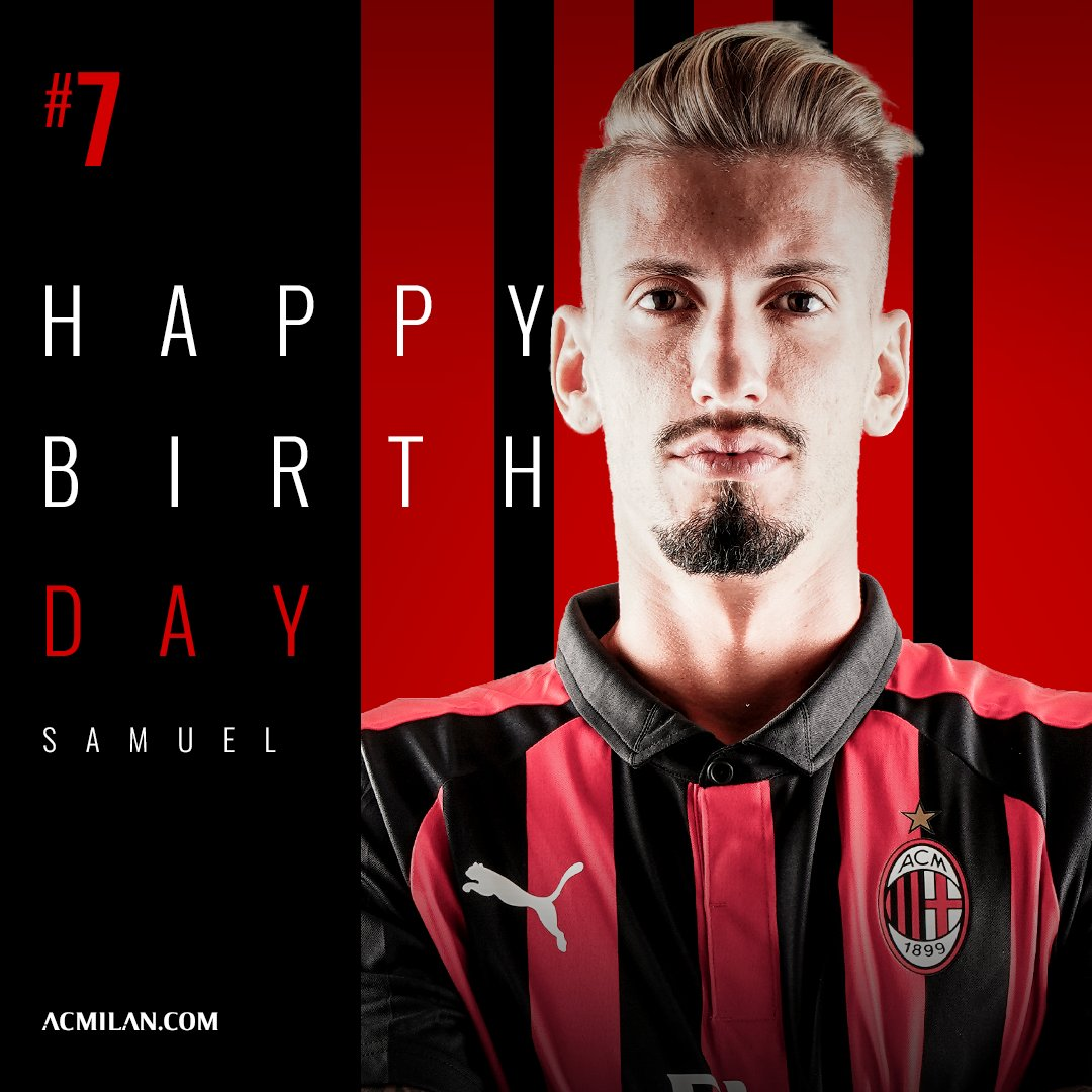 Double birthday celebration at Milanello today: Riccardo Montolivo and @SamuCastillejo are turning 34 and 24! ✌🏻🎂🎈 Doppio compleanno a Milanello: tanti auguri a @OfficialMonto e Samu Castillejo! ✌🏻🎂🎈