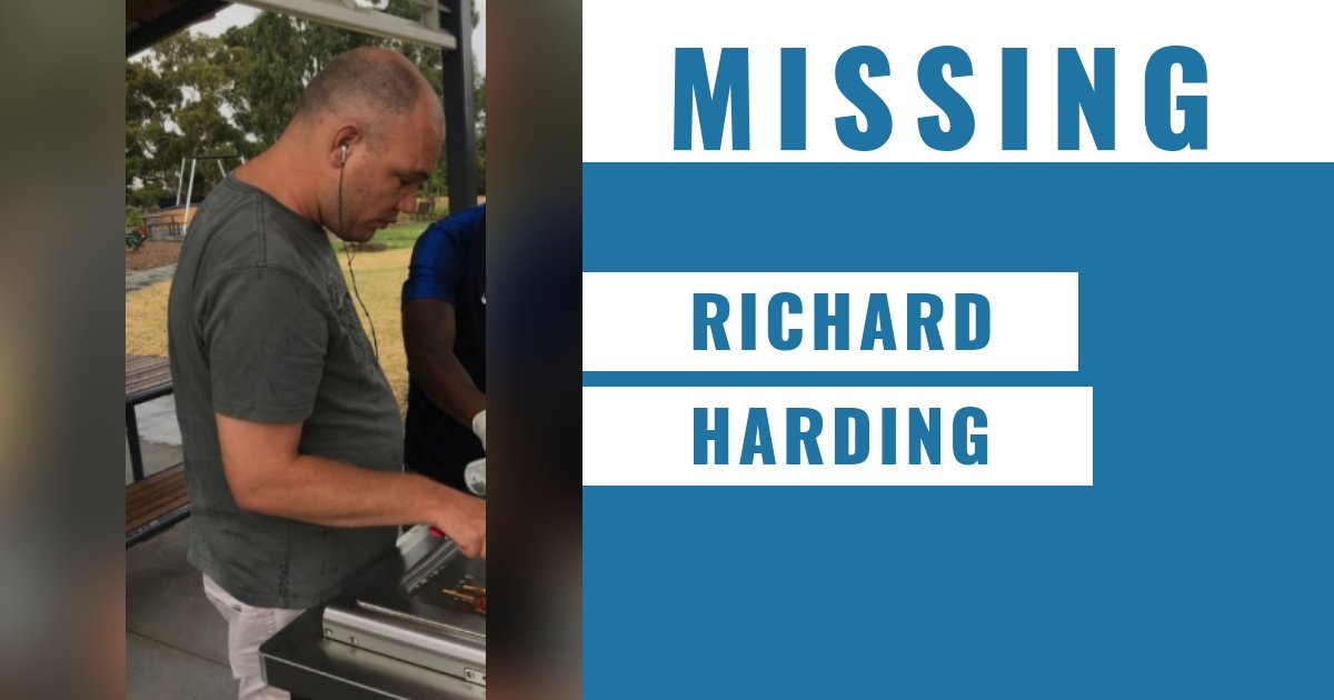 34-yo Clayton Sth man Richard Harding was last seen at football reserve on Ross St, Heatherton today.  He has cognitive impairment & speaks only non-communicative single words. Known to frequent train stations.  Cheltenham Police Station 📞 9583 9767 → https://t.co/wvDxo6AFHB