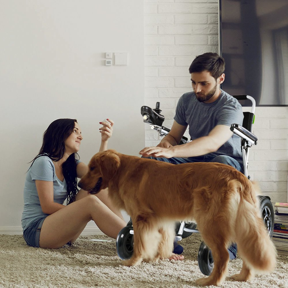 Each and every #feature designed has the customer's #comfort and #safety in #mind.Airwheel H3S #powerchair.#airwheel #dog #happy #family #man #wife #couple #wheels #wheelchair #chair #design #love #lovelife #lovely #blessed #home #sunday #weekday #weekend #life #scooter #tech