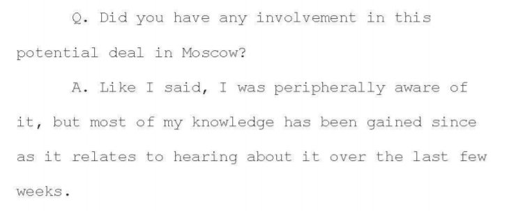 Things aren't looking great for @DonaldJTrumpJr.   He testified under oath that he was only 'peripherally aware' of the Moscow project.   But he reportedly received regular, detailed briefings on its progress