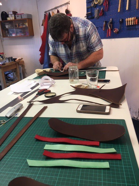 Leather sandal making workshop in full swing here in the upstairs studio, with Nia Denman. Still a couple of places left on the next workshop 23rd Feb. details on http://www.studio.com/workshops  #leather #handmade @orielmakers