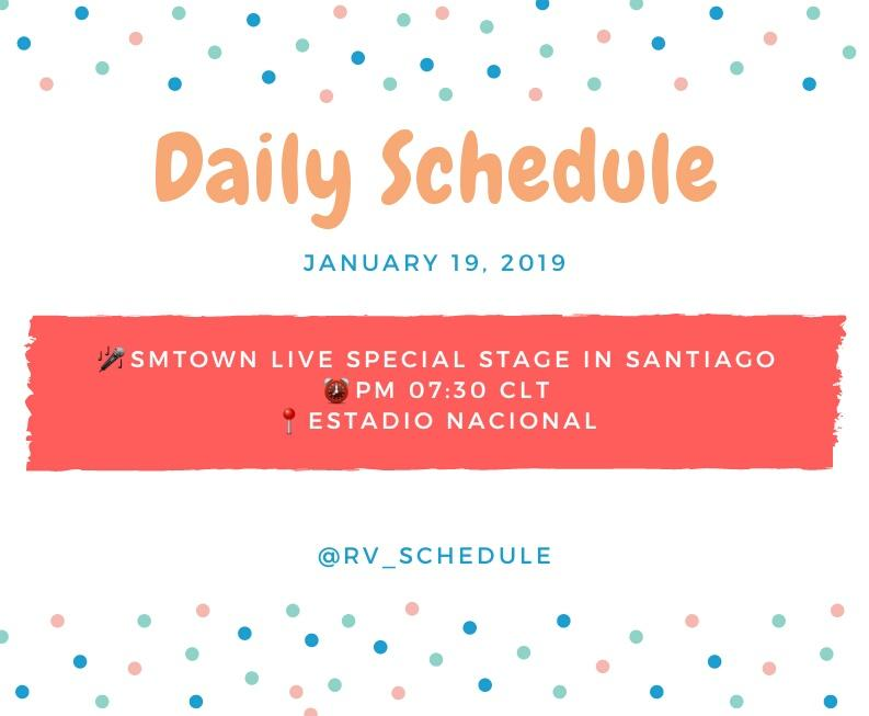 Daily Schedule @RVsmtown   January 19, 2019  SMTOWN LIVE SPECIAL STAGE in Santiago - D-2 PM 07:30 CLT Estadio Nacional  *The time difference between korea and santiago is 12 hours. So, Korea Time Schedule is January 20 at 7:30 AM  #RedVelvet  #레드벨벳  #RV_Schedule <br>http://pic.twitter.com/9JAaz32z7n
