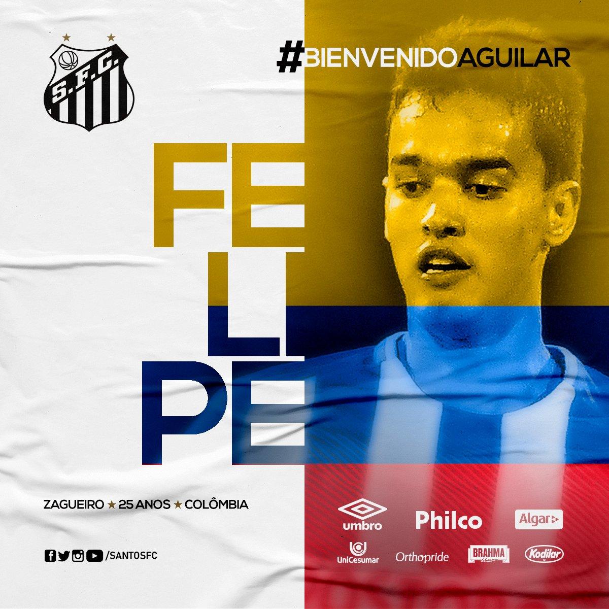 ⚫⚪ É DO PEIXE!  O @SantosFC anunciou o zagueiro colombiano Felipe Aguilar, de 25 anos, e campeão da Libertadores pelo Atlético Nacional. Bom reforço, torcedor?