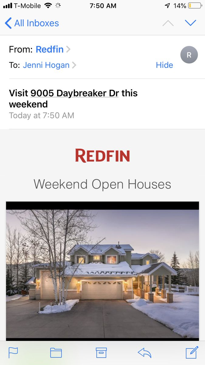 Yay thanks @Redfin for promoting my open house this weekend 🙌🙌🙌🏔💫 #parkcity ps it doesn't look like that right now snow everywhere 🤣