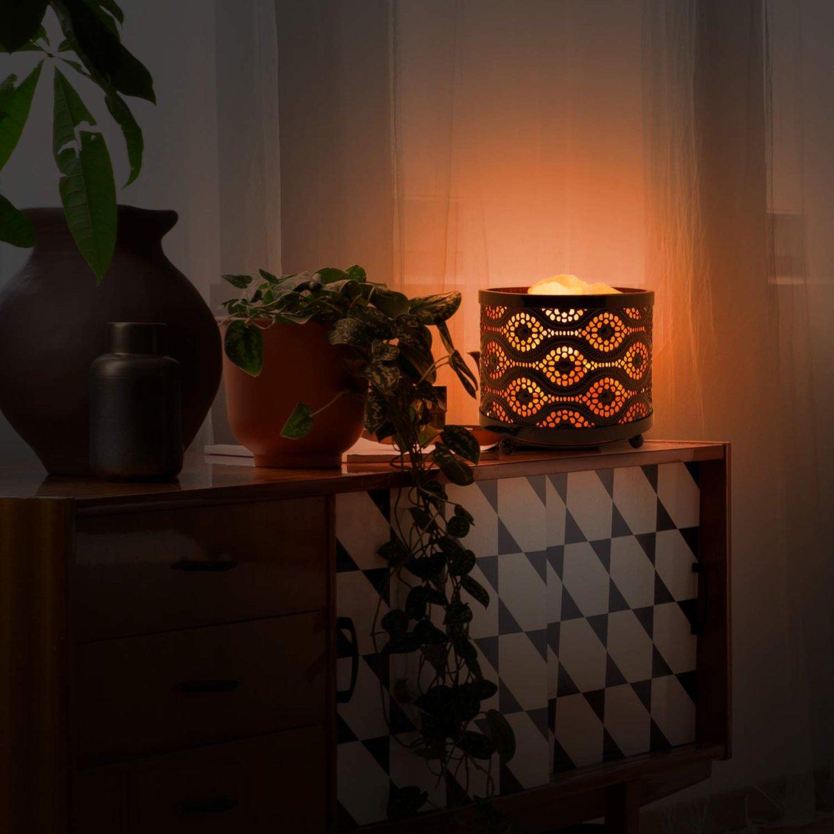 Himalayan Glow 1363B Natural Lamp with Salt Chunks in Mosaic Design Metal Basket