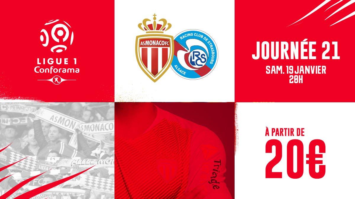 🎟️ Vos places pour le match AS Monaco 🆚 Strasbourg comptant pour la 21e journée de Ligue 1 à partir de 20€ - #ASMRCSA  ▶️ https://billetterie.asmonaco.com/fr/