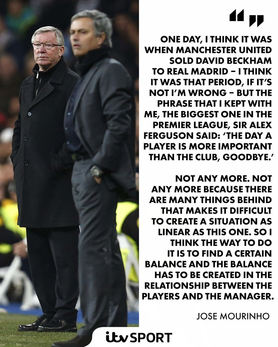 Very interesting stuff from Jose Mourinho on the player power shift in football  #MUFC