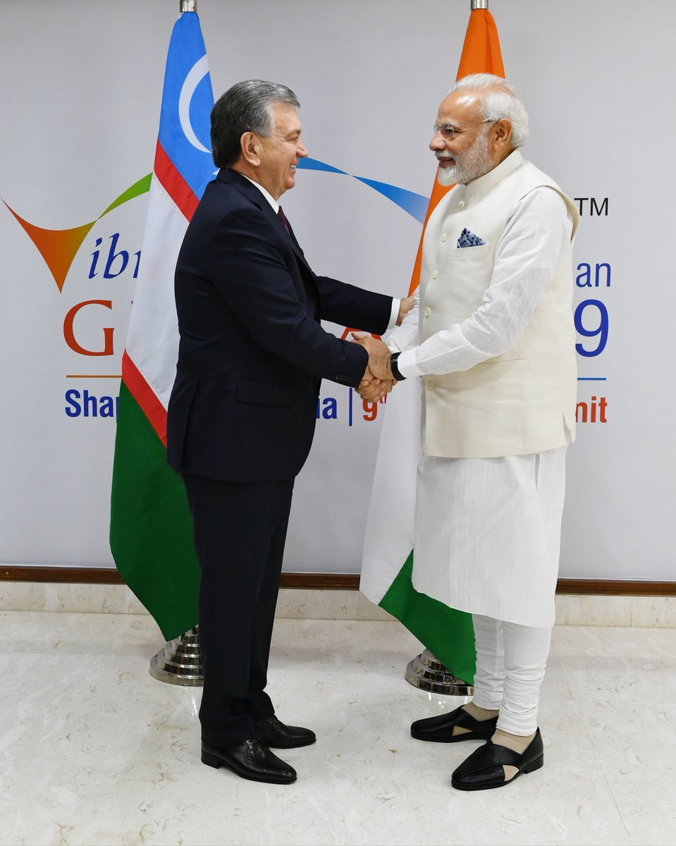 India is honoured to host the President of the Republic of Uzbekistan, Mr. Shavkat Mirziyoyev.   We had fruitful talks on the sidelines of the Vibrant Gujarat Summit in Gandhinagar. We discussed various aspects relating to India-Uzbekistan ties. @president_uz