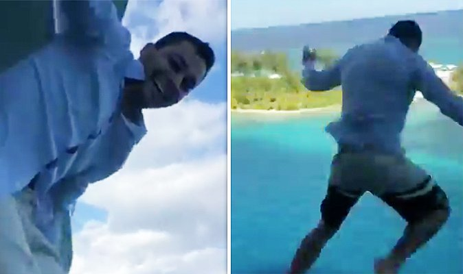 WATCH: Shocking moment man jumps from '110ft' cruise ship balcony in dangerous stunt https://t.co/uLyd9urONE