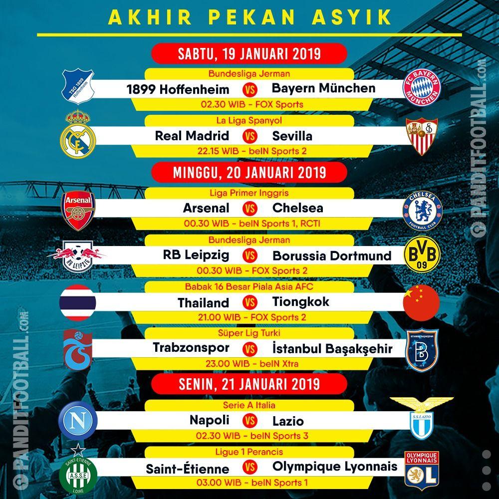 Selamat berakhir pekan. Jadwal lengkap pertandingan lainnya bisa dilihat langsung di: https://www.panditfootball.com/jadwal/204036/RDK/190118/jadwal-siaran-langsung-pertandingan-sepakbola…