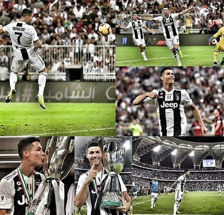 Tutti gli attimi più belli del primo trofeo in bianconero di @Cristiano 😍✨🔝 #SuperCoppaTim #JuveMilan #jeddah2019 #CristianoRonaldo #CR7 #Juventus #FinoAllaFine ⚪️⚫️❤️