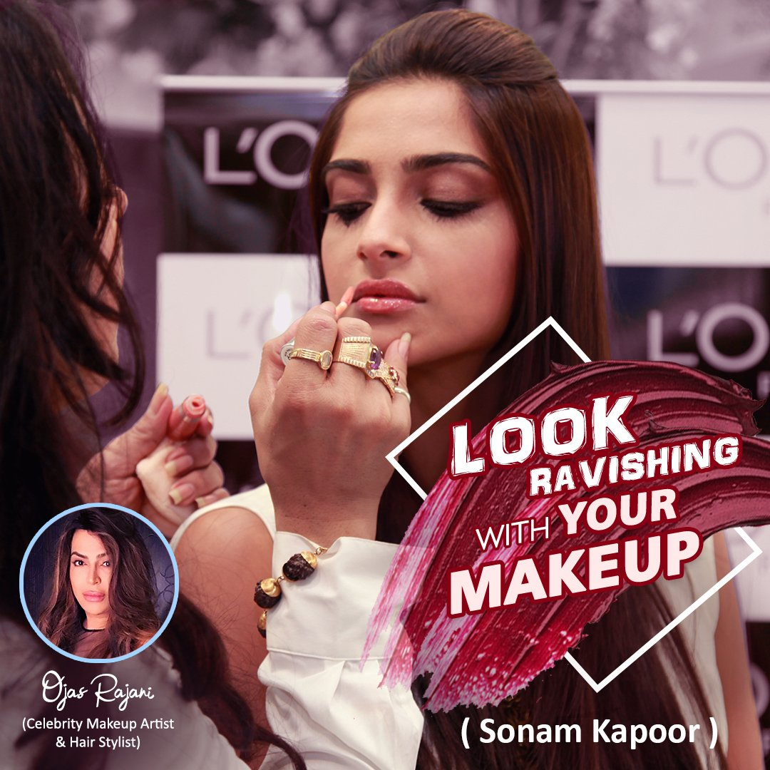 #SonamKapoor looks #great with a nicely done #hair and stunning #makeup. #OjasRajani #impeccable work of makeup and #HairStyling does the talking for her as well as #perfection reflects in her work.