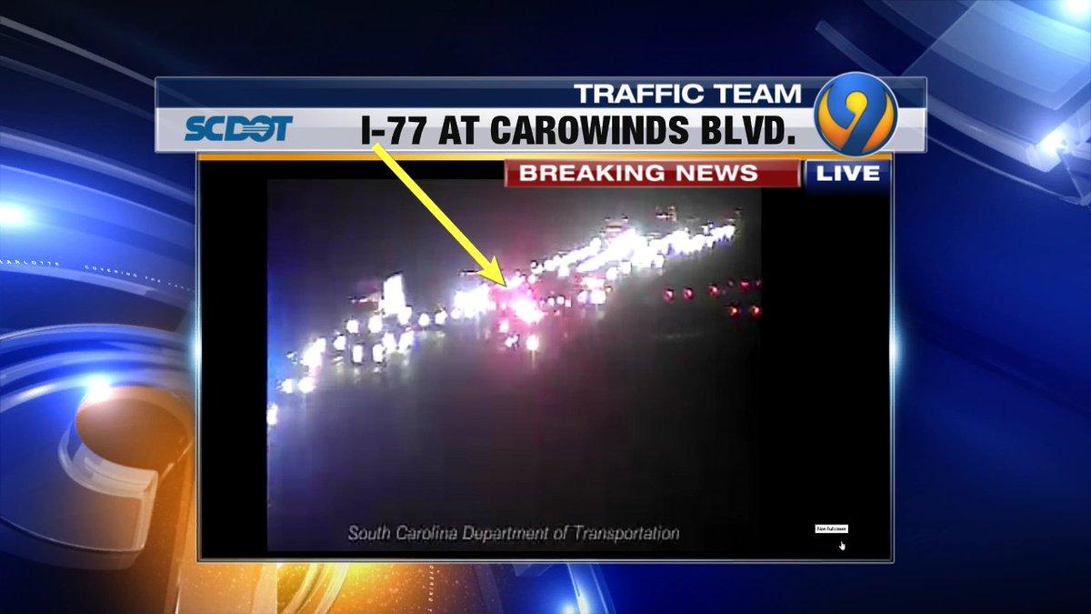ALERT: Only the far right lane is now OPEN I-77 NB at Carowinds Blvd. #FtMill #cltraffic #clttraffic #clt<br>http://pic.twitter.com/ffocMr1JRT