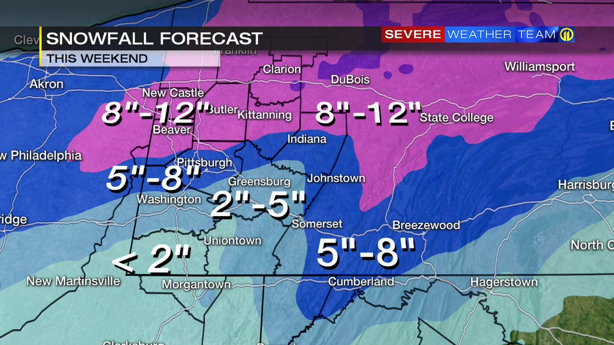 Winter storm could bring up to 12 inches of snow to parts of our area this weekend. @WPXIScott has new timing for the storm, NOW on 11 Morning News.  https://t.co/mQiKlPjlh0