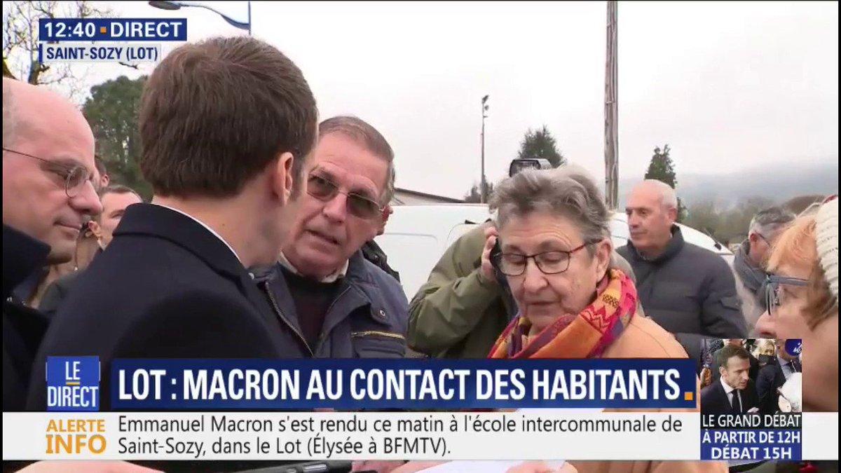 'Pourquoi j'ai 100€ de moins?' À Saint-Sozy, un retraité interpelle Emmanuel Macron sur sa pension