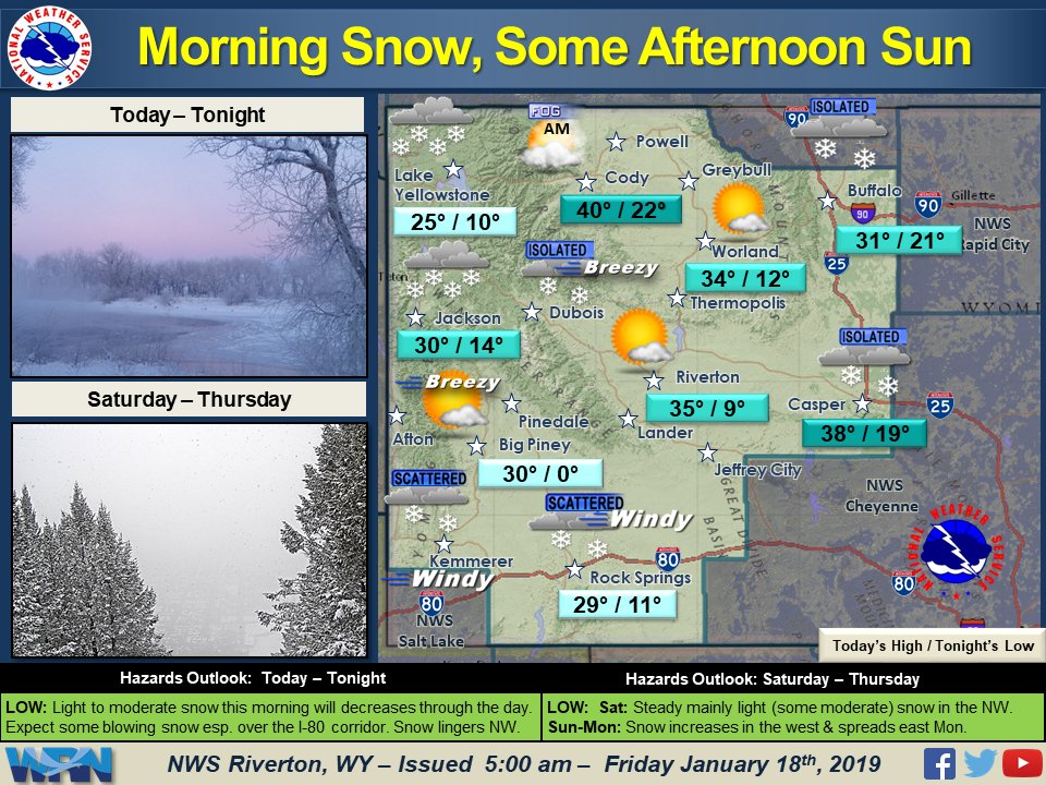 Today, gusty winds in the mountains and across the wind corridor will create areas of blowing snow at times.  Light snow will linger across the area this morning with general clearing by the afternoon.  Snow showers will remain a threat Saturday across much of the far west. #wywx