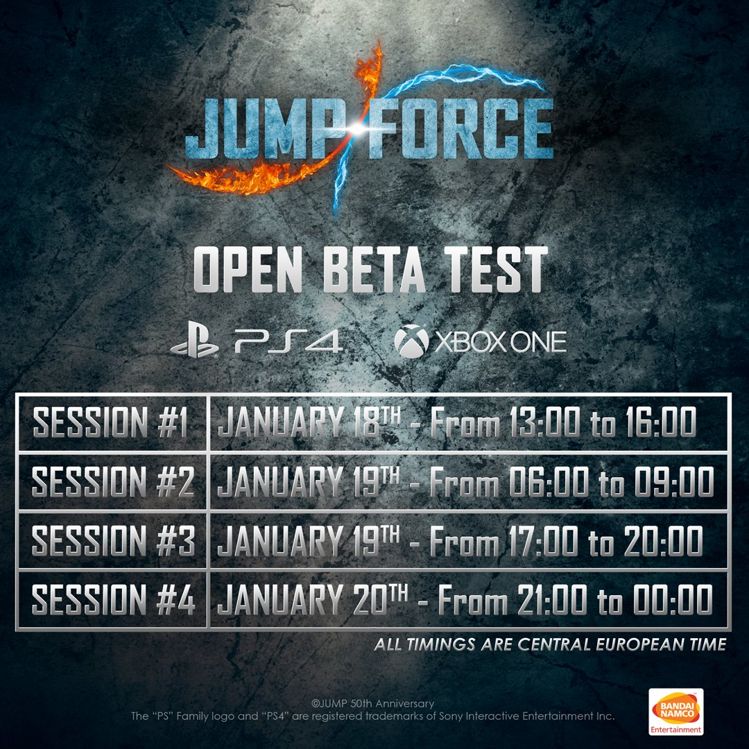 4Pm Cet To Pst jump force open beta test - dates, times, and characters