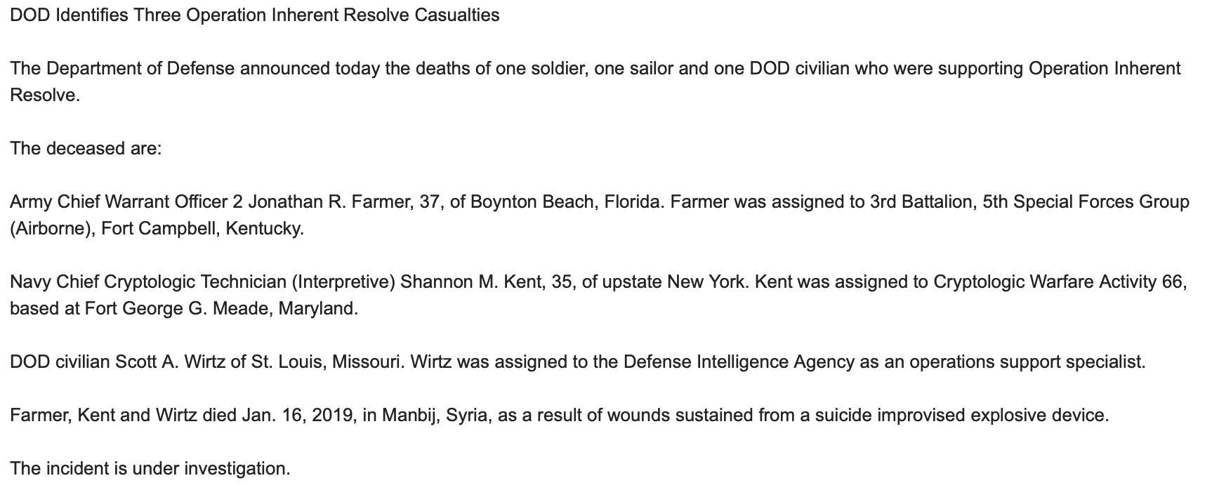 Сводки из Сирии. Появились данные по американцам убитых в Манбидже.