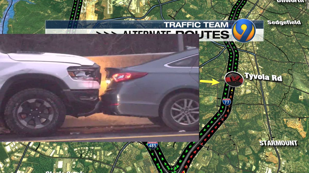 UPDATE: I-77 NB at Tyvola Rd. wreck is now up against median wall.  LOTS of leftover delays #cltraffic #clttraffic #clt<br>http://pic.twitter.com/jgPw1P3GU9