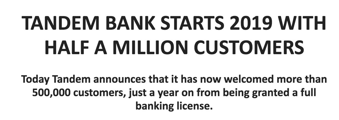 I don't think Tandem bank press releases its app user numbers often enough🙃  FYI, I'm pretty sure these numbers also include PFM app signups, not only account and credit card openings. A subtle but important difference. Would be good to see a breakdown for comparative purposes.