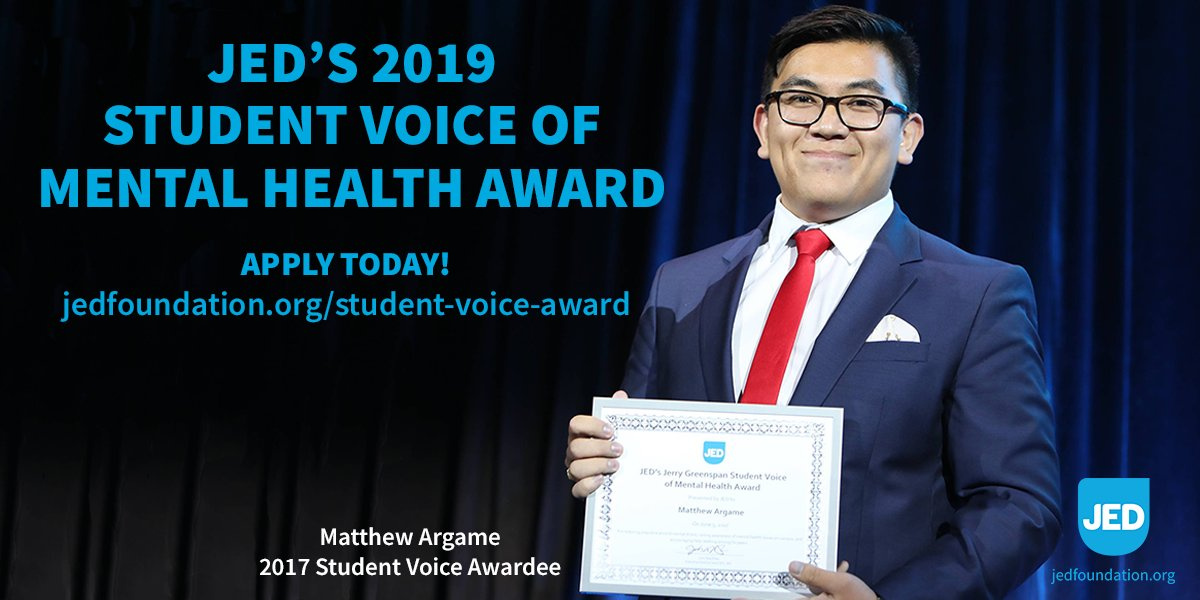 Are you spreading #mentalhealthawareness on your campus? Apply for @jedfoundation's Student Voice of #MentalHealth Award: http://jedfoundation.org/student-voice-award…