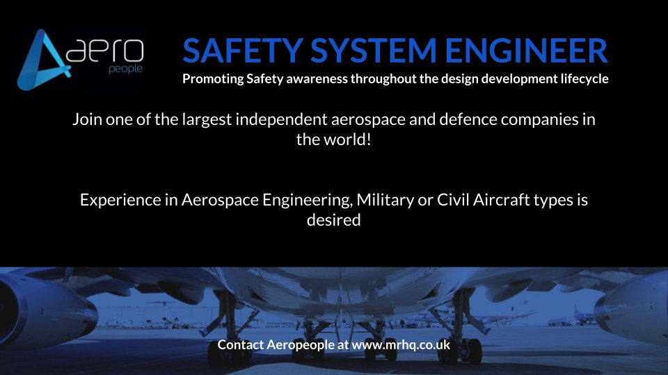 A System Safety Engineer is wanted by @Aeropeople in Cambridge. If you're interested in a flexible benefits scheme click here - http://bit.ly/2CQ5N79 #Veterans #FridayFeeling