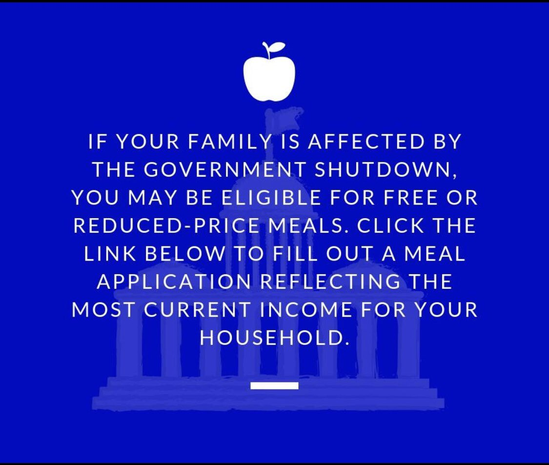 If your family is affected by the government shutdown, you may be eligible for free or reduced meals. Click here ——&gt; <a target='_blank' href='https://t.co/LmRNBG7k6m'>https://t.co/LmRNBG7k6m</a> to fill out an application reflecting your most current household income. <a target='_blank' href='https://t.co/NsGoNwHJCq'>https://t.co/NsGoNwHJCq</a>
