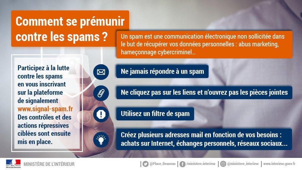 #Cybersécurité Votre boîte de messagerie est envahie de #spams ? Les réflexes à adopter : 👨💻Ne jamais y répondre 👨💻Les signaler sur http://signal-spam.fr