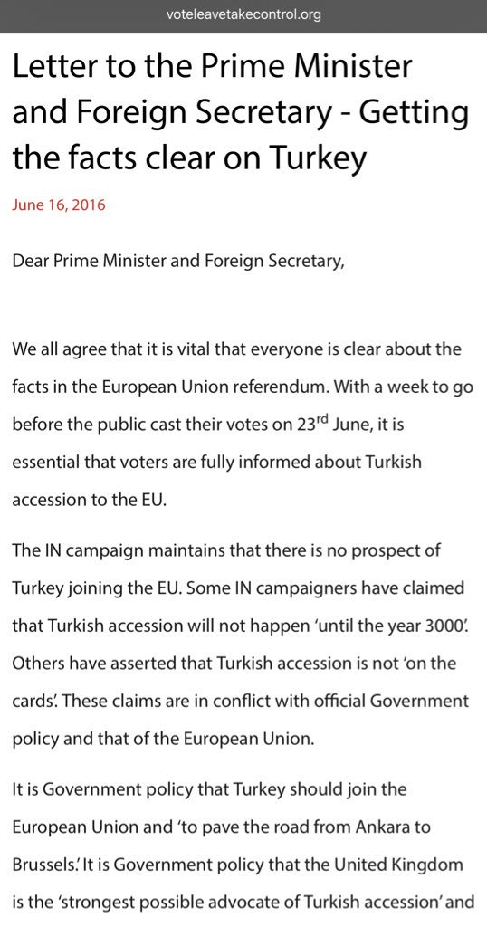 Only 15 mentions of Turkey in this letter about Turkey from the week before the referendum still live on the Vote Leave website, signed by Boris Johnson.  https://t.co/2hFdrEcI0p
