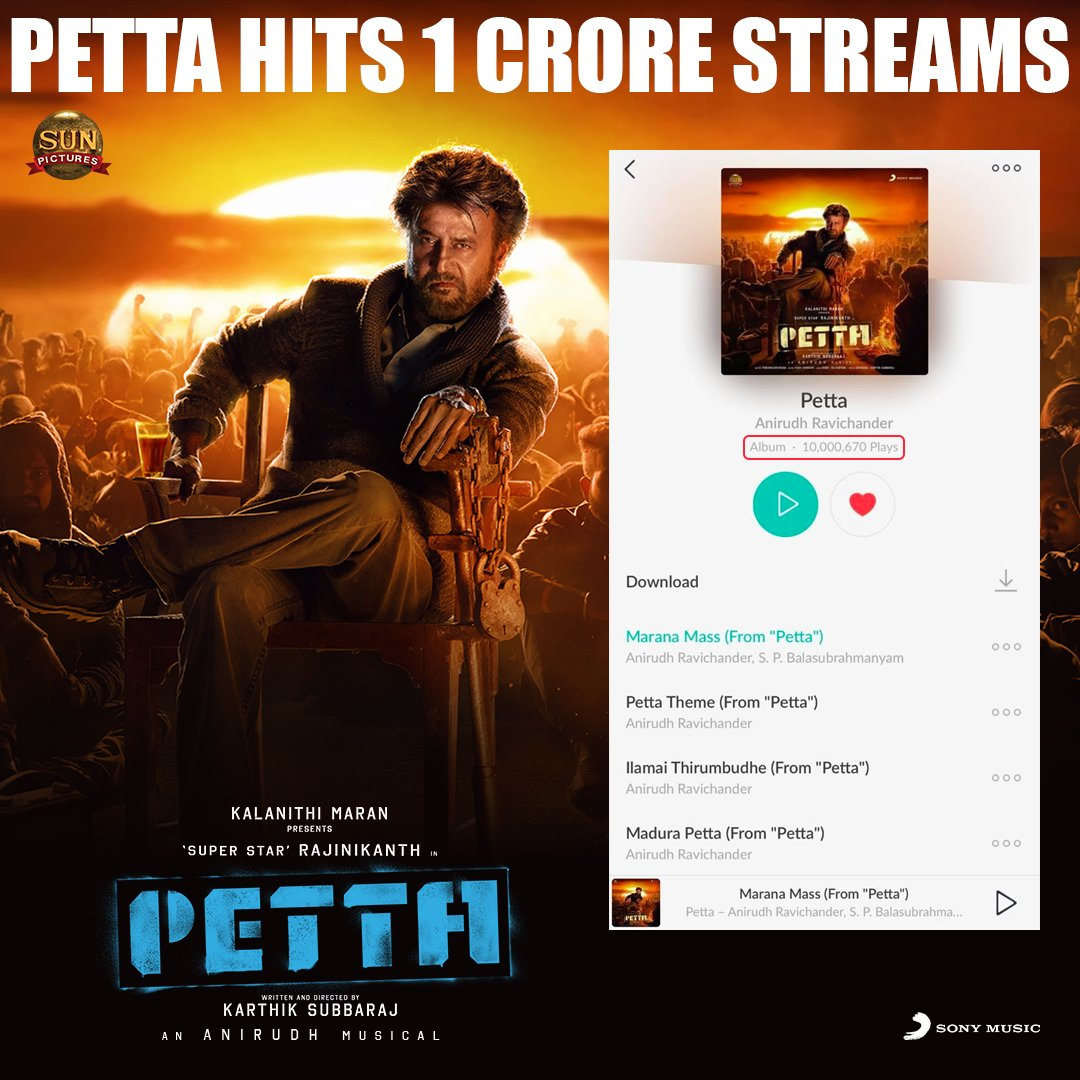 #Petta album is a chartbuster indeed😎🔥   #Petta album hits 1CRORE STREAMS in both @JioSaavn & @gaana 🎉👊   MARANAM MASS-U MARANAM THOUGH-U THARANUM💃🎶   Rockstar @anirudhofficial sets records as always!!!