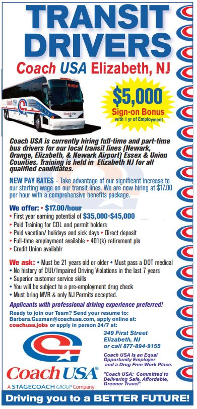 Coach USA is hiring Local Transit Drivers in Elizabeth NJ!  Full time and part time available.   Comprehensive benefits package included!  Interested? Click here to find out more or to apply http://ow.ly/pxfx50kf69K  #busdriver #Job #Jobs #joblisting #driverjob #bus