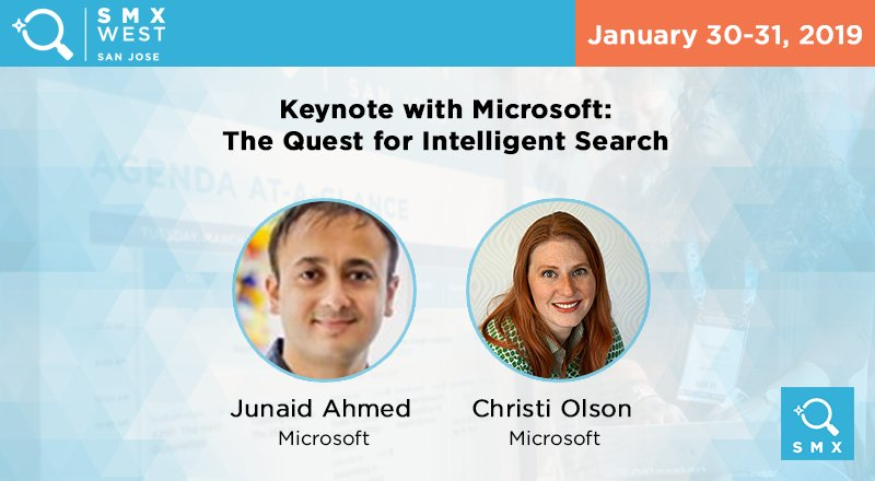 ICYMI: Now's your chance to catch Christi Olson & Junaid Ahmed of  &  @Microsoftto hear@bing future developments & opportunities coming to Bing & Bing Ads! Emerging AI is evolving the search landscape, check it out at  West! #SMXhttps://t.co/b1tHvIFZRx