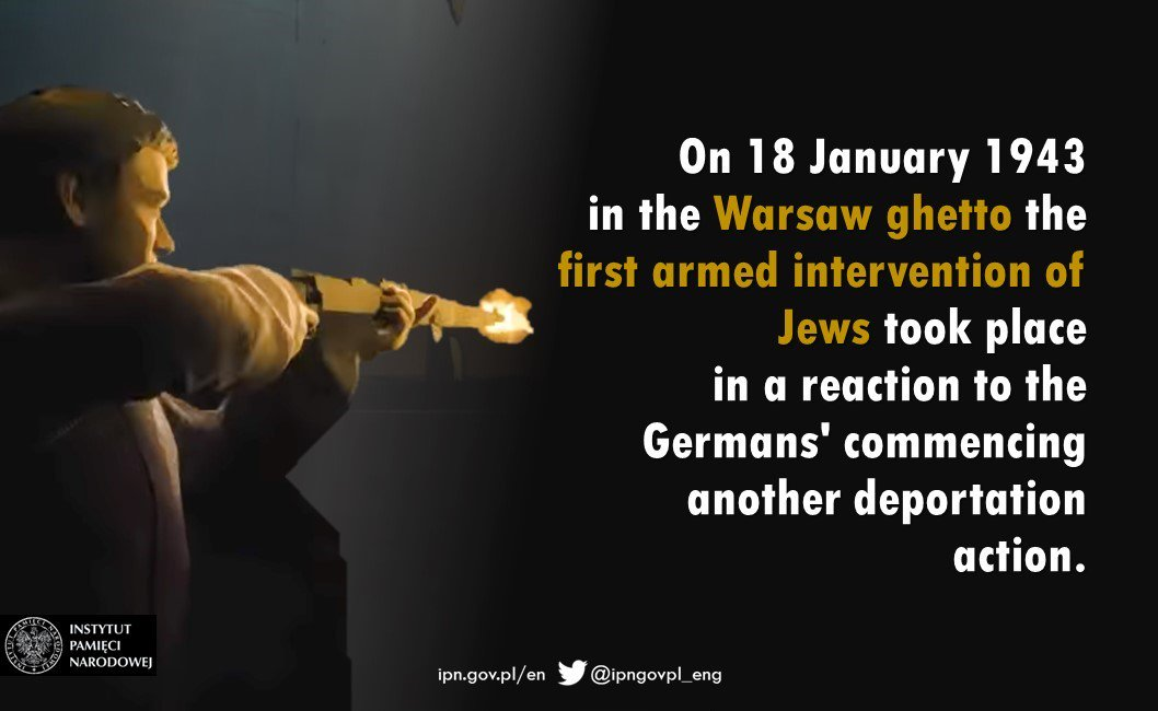 #OTD 76 years ago the first military action of the Jews✡ took place in the #WarsawGhetto in response to  the Germans' commencing another deportation action. #Holocaust #OccupiedPoland #PolishHistory