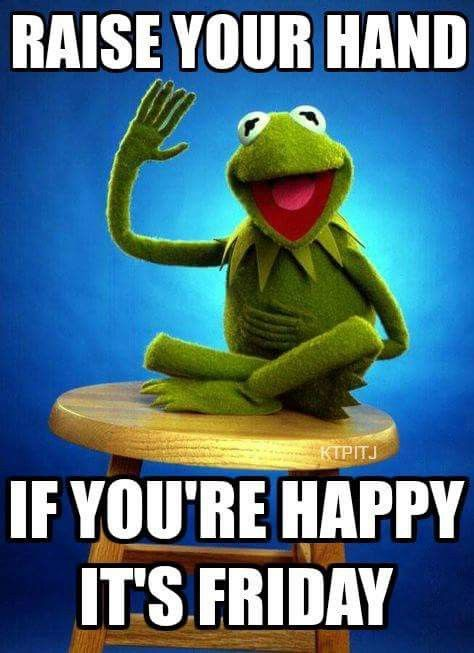 Happy #Friday, Everyone! It's been a great week, but we're pretty excited about the weekend too. :-) #happyfriday #fridayfeeling #friyay #weekendvibes #wisdomofkermit #raiseyourhand