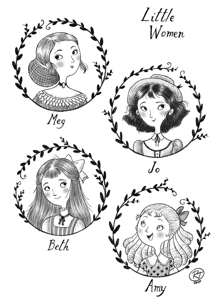 A b/w version of my &quot;Little Women&quot; piece from a while back #LittleWomen #illustration #characterdesign #kidlitart #novel<br>http://pic.twitter.com/aQduOTRL8v