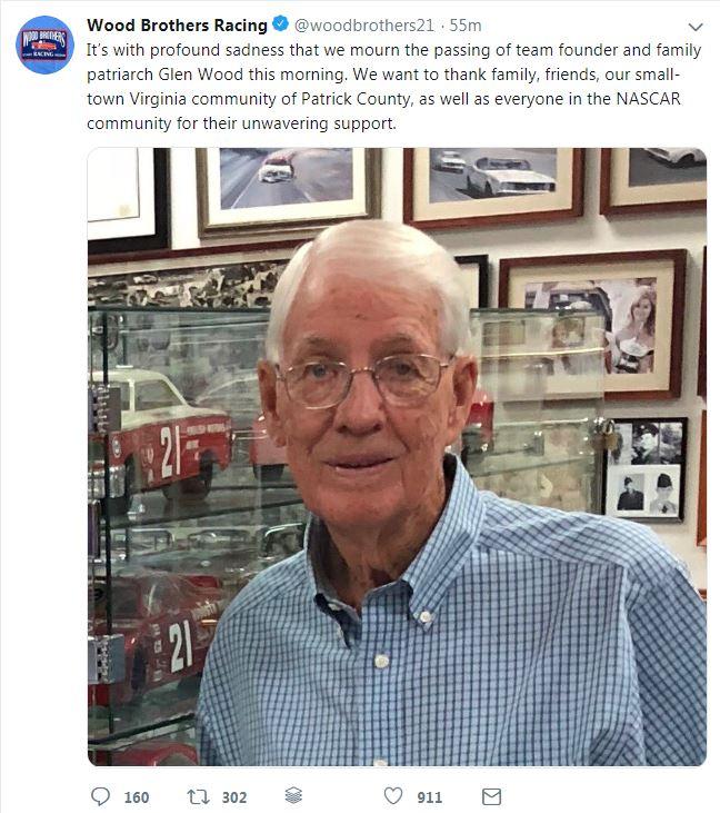 #BREAKING [STORY]: Glen Wood, NASCAR's Wood Brothers Racing co-founder, dies at 93 » https://t.co/fachCYmLA8