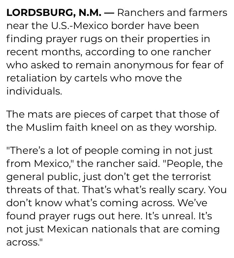 """The Washington Examiner article the president is quoting is very bad. The """"prayer rugs"""" claim was made by a single rancher who would not allow her name used and who apparently provided the journalist no evidence."""