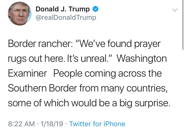 "The Washington Examiner article the president is quoting is very bad. The ""prayer rugs"" claim was made by a single rancher who would not allow her name used and who apparently provided the journalist no evidence."