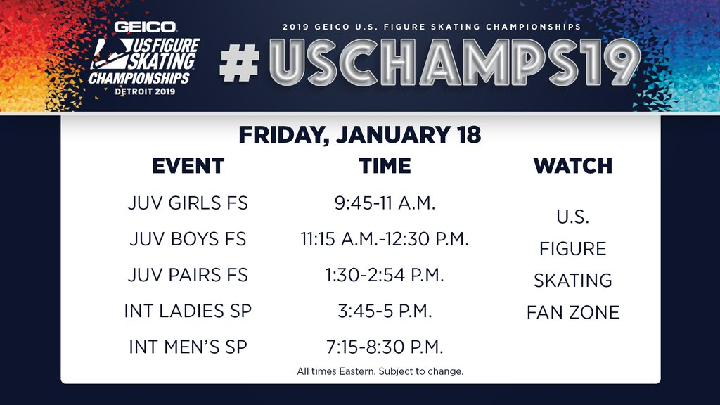 🚨 IT'S DAY 1⃣ OF @GEICO #USChamps19! 🚨  Everything you need to know is right on Competition Central: https://t.co/CNb8VDLQez Watch today's competition for free on the U.S. Figure Skating Fan Zone: https://t.co/O52vlqN4Rs