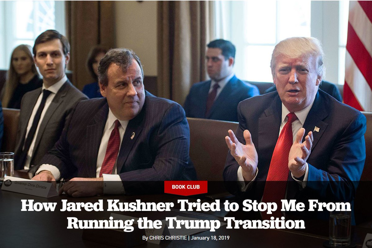 Chris Christie book excerpt:  How Jared Kushner Tried to Stop Me From Running the Trump Transition   https://t.co/4biwY3La8C @GovChristie