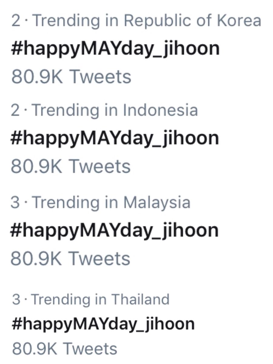 #박지훈 #happyMAYday_jihoon trending at #2 in korea and indonesia, at #3 in malaysia and thailand <br>http://pic.twitter.com/HgpT24jOZz