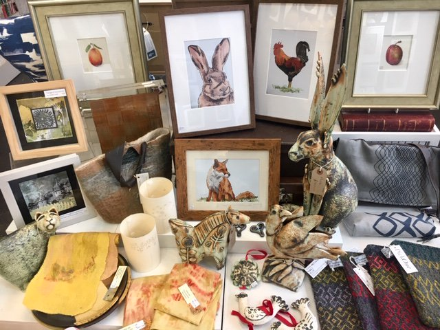 Animal display - @VicciMurray #print @janbeenyceramic #ceramics @helenlushartist  #prints @louiseyoung101  #illustration @PickOneWeaver #weave Jill Riley #textiles