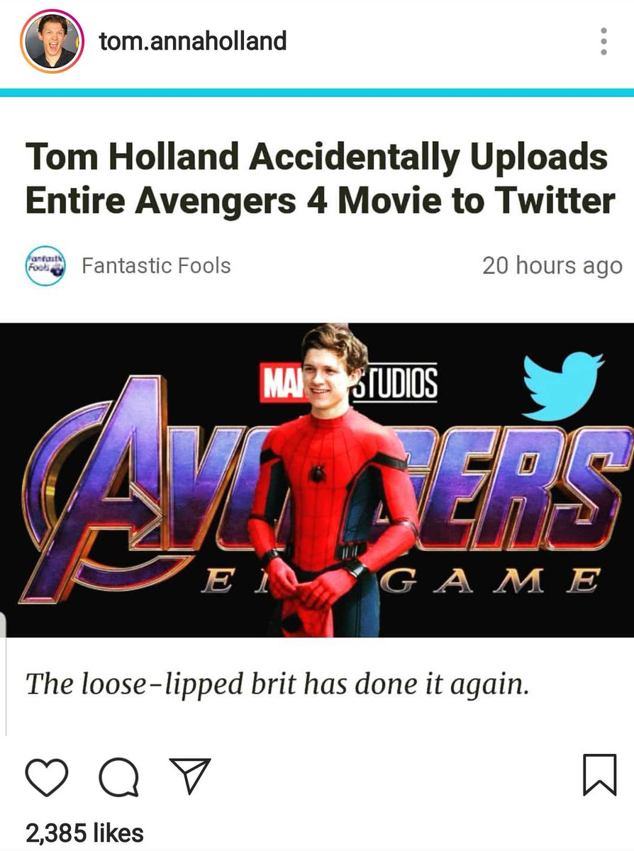 Tom Holland falls for fake news story that said he leaked entire 'Endgame' on Twitter 🤣