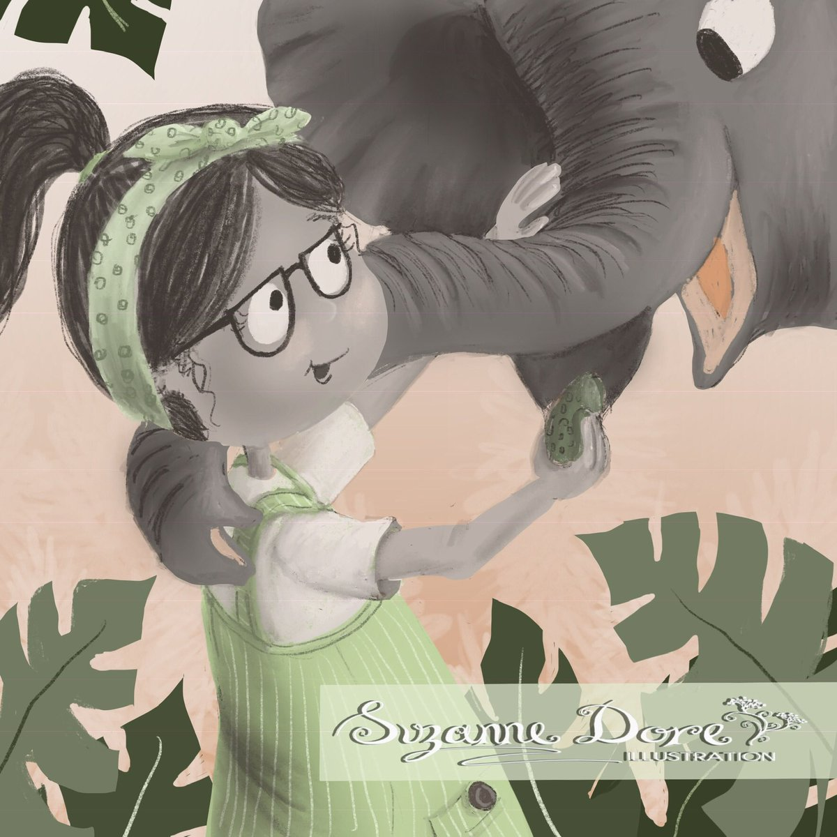 Good to be back. Hello 2019. What is Emma's favourite food? Probably #avocados  #elephant  #dinnertime #kidlitart #illustration #teagreen #Colour_Collective @Clr_Collective<br>http://pic.twitter.com/Z4P2d2N6t6